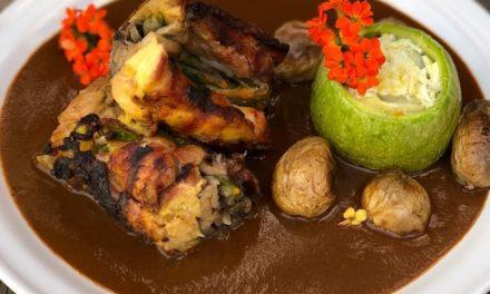 Roulette de pollo a la parrilla con coloradito «Mechita» y calabacita rellena